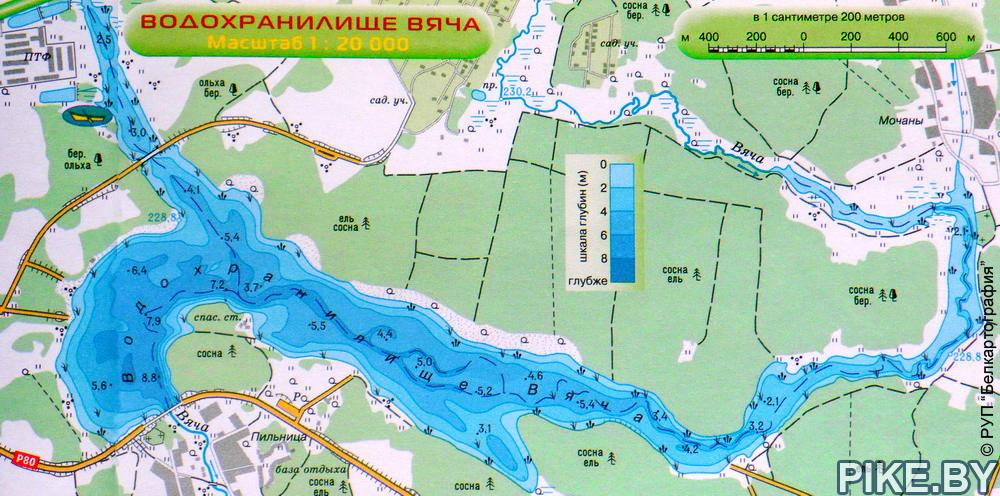 Карта водохранилища Вяча