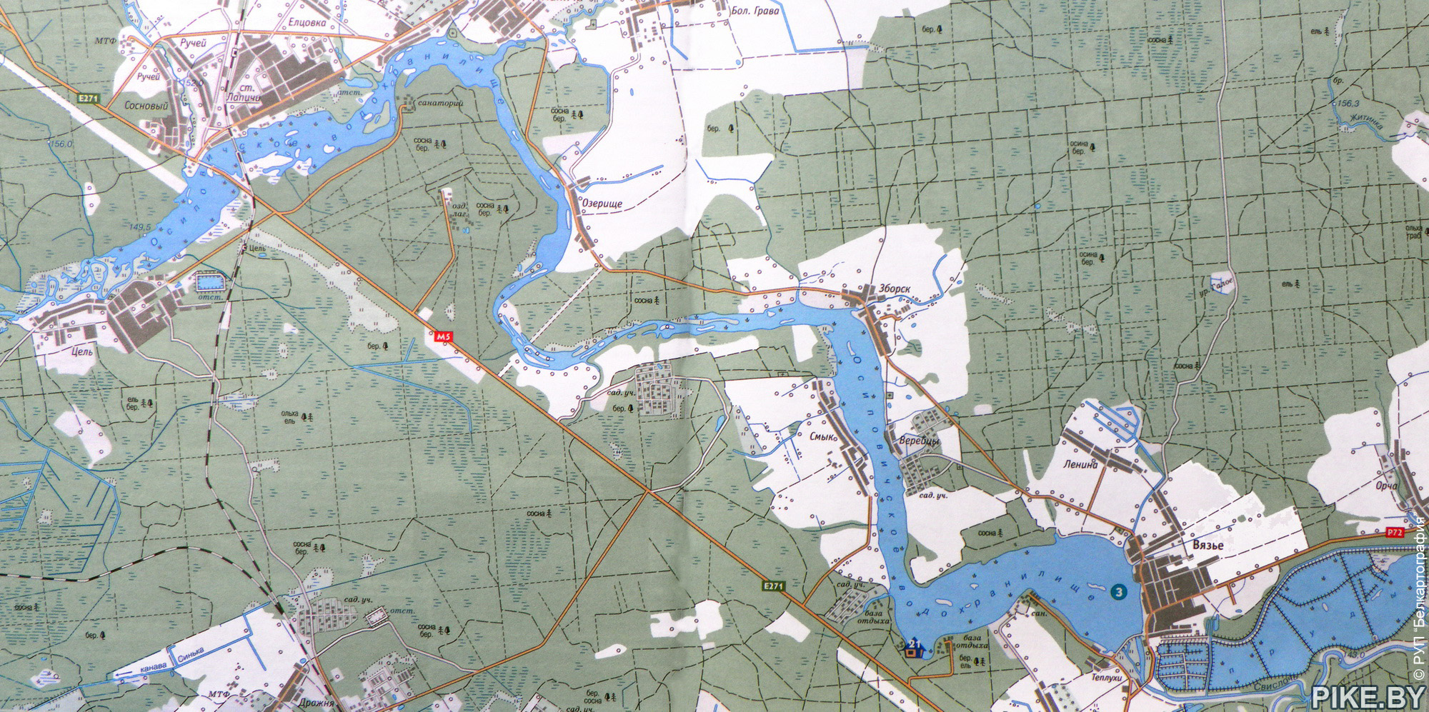 Карта Осиповичского вдхр