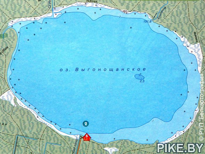Выгонощанское озеро карта глубин