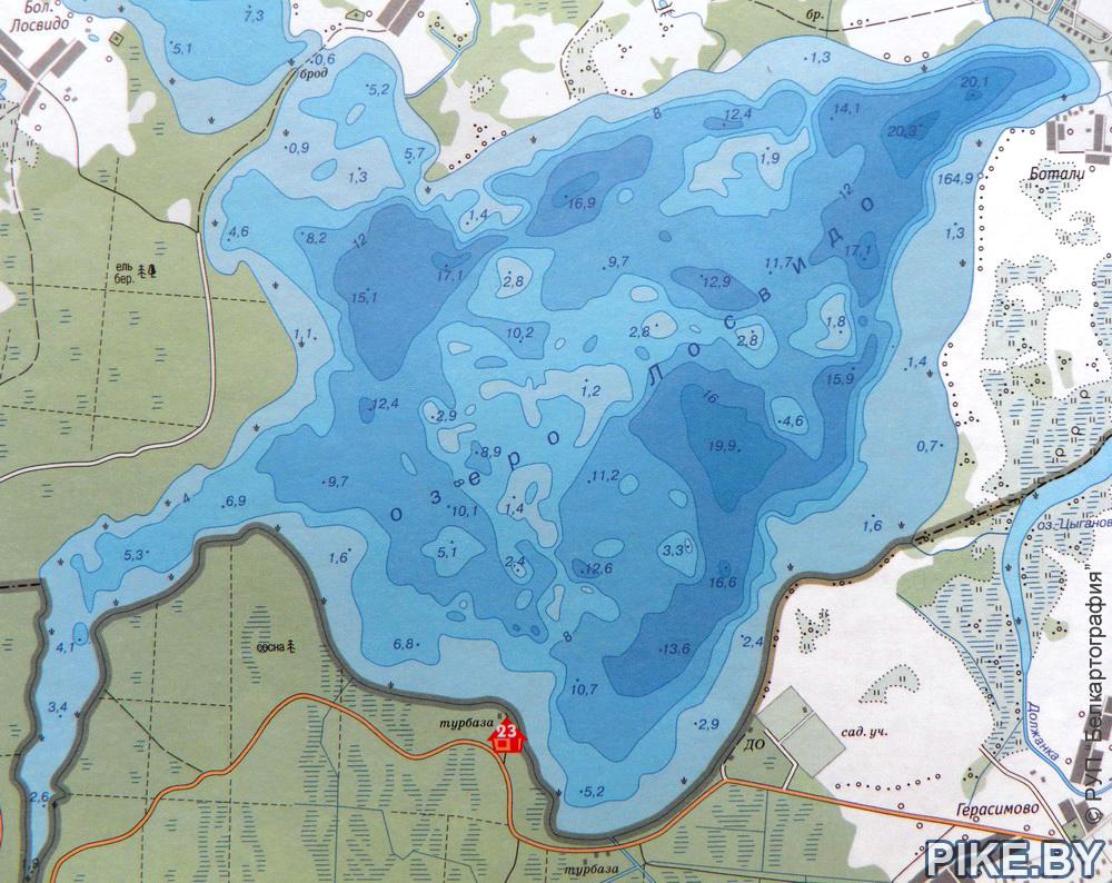Озеро Лосвидо карта