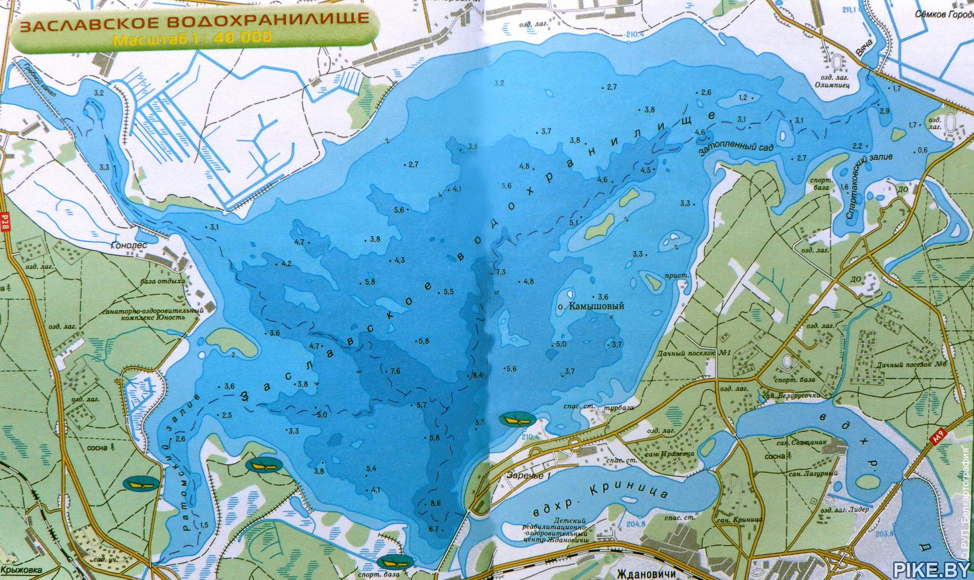 Заславское карта глубин