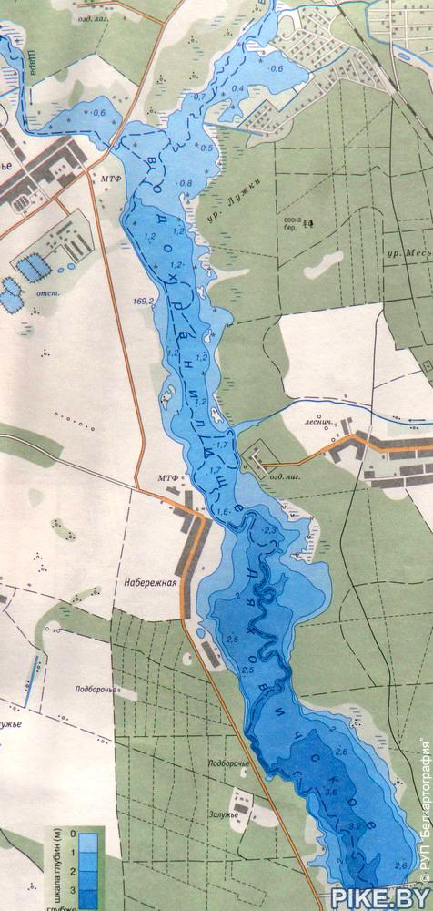 Миничи (Ляховичское) водохранилище - карта глубин