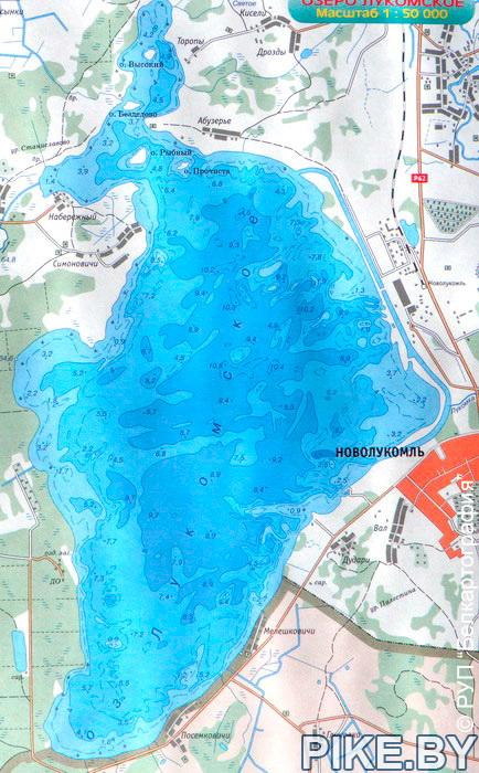 Лукомское озеро карта