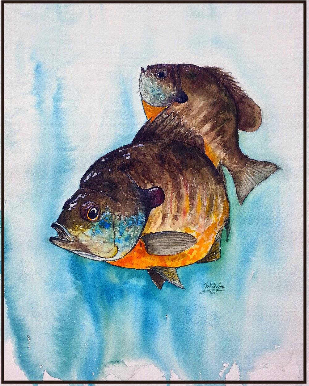 рыбалка рисунок акварелью