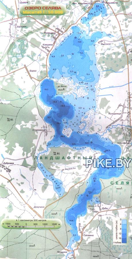 Селява озеро карта глубин